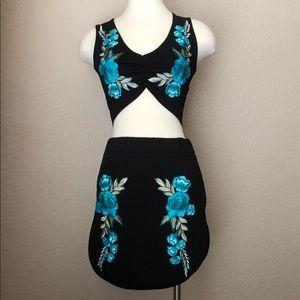NEW 2-piece Floral Appliqué Bralette / Mini Skirt